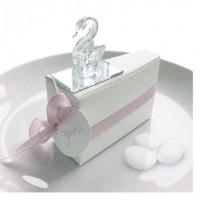 Gastgeschenk Tortenstück Schwan Echtglas rosa
