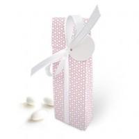 klassik vichy rosa aus hochwertiger Kartonage mit grünem Kreismuster und einer Schleife