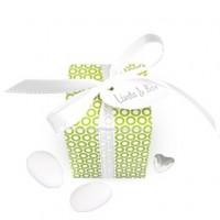 kubus circle grün als Gastgeschenke Hochzeit, Bonboniere Kommunion gefüllt mit Hochzeitsmandeln oder Schokoladendragees